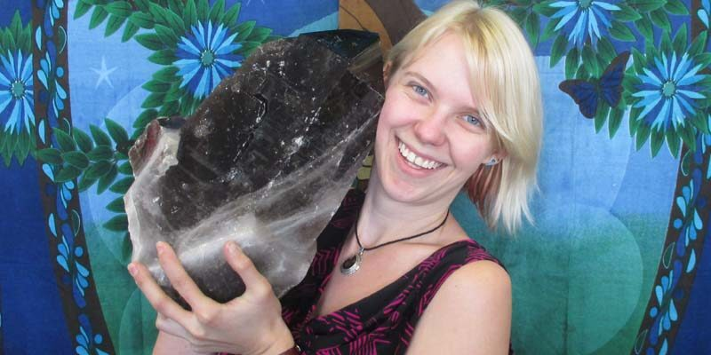 Girl holding crystal rock!